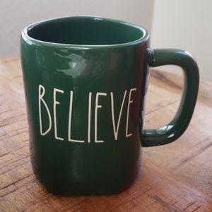 Rae Dunn green believe mug nwt